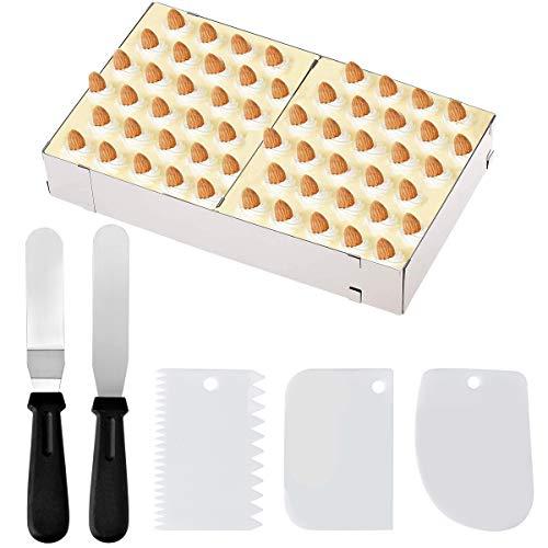 Queta Kuchenform Eckig Tortenring, Edelstahl Verstellbar Tortenring Mit Tortenmesser Schaber FüR Torten Pizza Ausziehbare Kuchenringe Kuchenrahmen