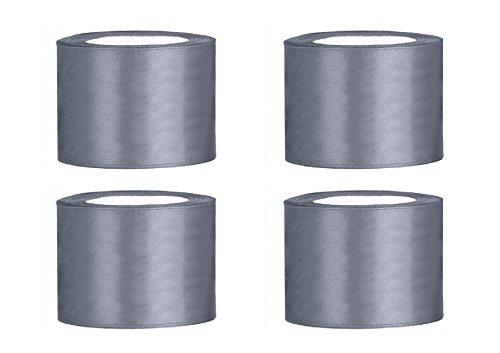 SiDeSo® Satinband 100m x 50mm (4x25m Rolle) viele Farben Hochzeit Dekoband Geschenkband Schleifenband (grau)