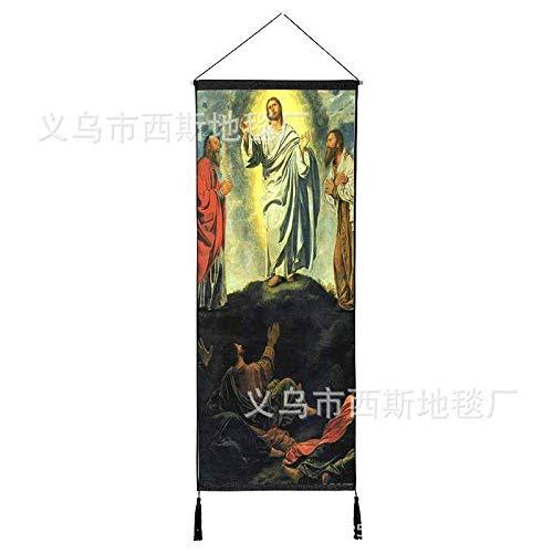 Jesucristo Tela de Pintura Colgante Sala de Corte de algodón de la Virgen María Fondo Pintura Pared Colgante Pintura Iglesia decoración 1 120 * 45 cm