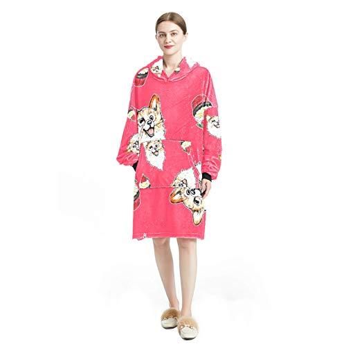 Long Nightgown Sleepwear Winter Sleepshirt Loose Chemise Lingerie for Women Red puppy cake pattern