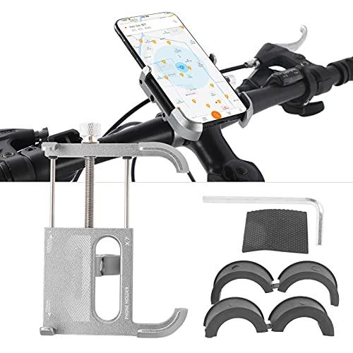 Eulbevoli Soporte para teléfono para Bicicleta, Soporte antioxidante para teléfono de aleación de Aluminio Bicicleta con Ancho de sujeción Ajustable para Ciclismo(Titanium)