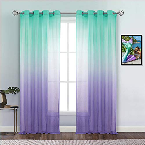 "Dreaming Casa Green and Purple Sheer Curtains for Bedroom Girls Room, Grommet Top Curtain Panels for Kids, Ombre Window Sheer Voile for Baby Boy Nursery Living Room 2 Panels 52"" W x 84"" L"