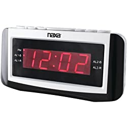 NAXA NRC-171 PLL Digital Dual Alarm Clock with AM/FM Radio, Snooze and Large LED Display (Black Lacquer)