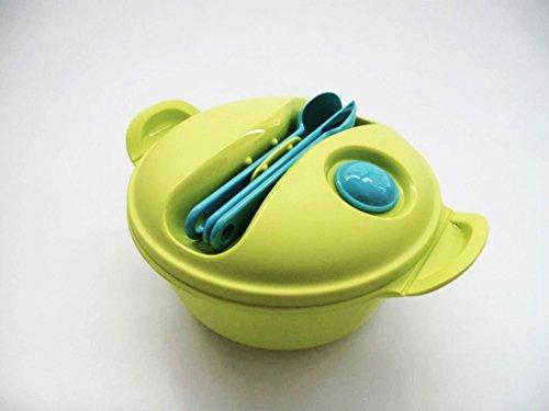 Tupperware, portavivande 9906, da 1,5 l, colore lime, con posate, adatto per microonde