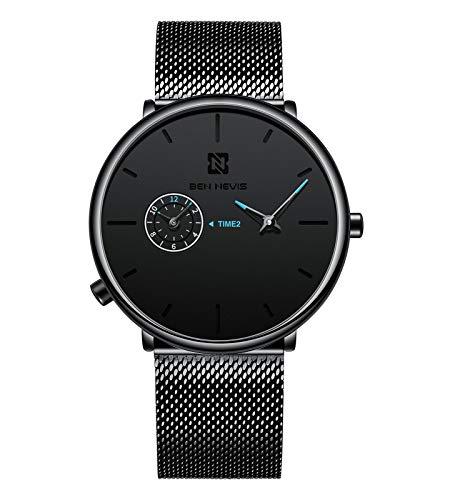 Herren-Armbanduhren, Business-Armbanduhr, einfache Dual-Zeitanzeige, minimalistisch, ultradünn, unisex, wasserdicht, Quarzuhr mit Netzband, schwarz