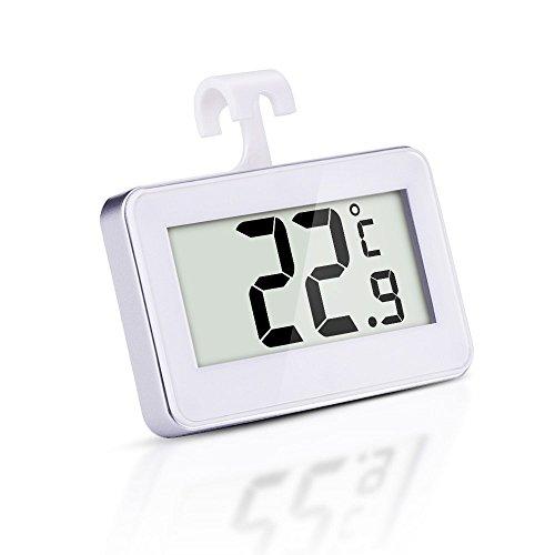 Aosnow 高精度防水 冷蔵庫サーモメータ 小型デジタル温度計 フリーザー温度計 冷凍・冷蔵庫用電子温度計 フロスト警告機能付き 置き掛け両用
