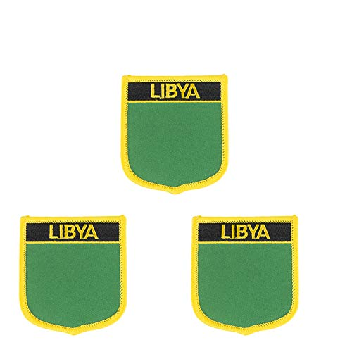 Aufnäher Libyen-Flagge, bestickt, in Schildform, zum Aufbügeln oder Aufnähen, 3 Stück