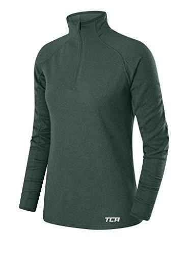 TCA Cloud Fleece Damen Thermo-Laufshirt mit Kragen & halbem Reißverschluss - Langarm - Himmelblau, L
