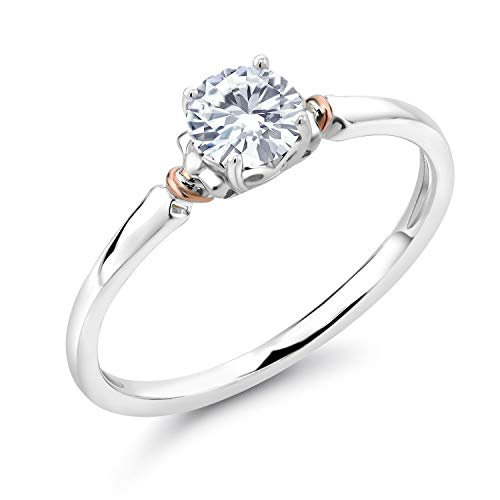 925 Sterling Silver and 10K Rose Gold Forever Brilliant Created Moissanite from Charles & Colvard Women Solitaire Engagement Ring (0.50 Cttw, Round 5MM, Available in size 5, 6, 7, 8, 9)