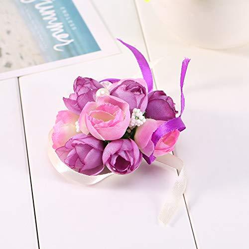 Fiore da Polso - Fiore da Polso da Damigella d'Onore Corpetto da Polso Bracciale Sorelle Mano Fiori Bouquet da Sposa LJ