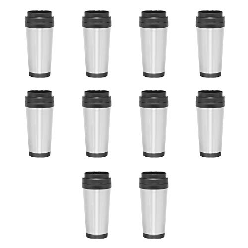 Stainless Steel Insulated Travel Mugs - 16 oz - Thermo Coffee Cup Tumbler - 10 pack - Perfect for Travel Togo On-The-Go - Stainless Steel