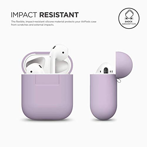 elago AirPods Silicone Case Designed for Apple Airpods Case 2 & 1 [Front LED Visible] - Lavender
