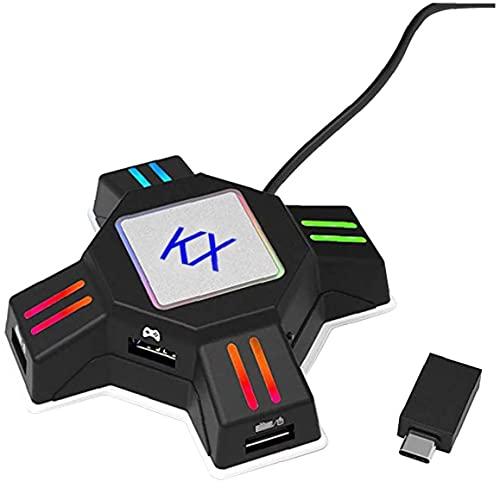 FeelMeet Teclado Ratón Adaptador Gamepad del convertidor del convertidor KX Multi usos...