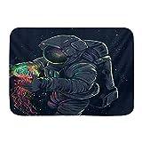 Yhouqukhdeueh Alfombrillas para baño, Fantasy Galaxy Planet Cool Astronauta Astronauta Starry,con Respaldo Antideslizante,29.5'X17.5'