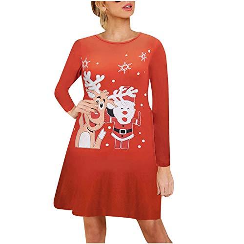 YUANCHENG Vestido de Manga Larga con Estampado de Alce de Invierno para Mujer, Vestido de Talla Grande Rojo Negro sólido, Vestido Recto de Fiesta de otoño y Navidad, Bata