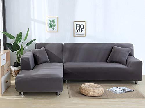Cxssxling - Funda de sofá esquinero convertible en tejido de poliéster extensible para sofá en forma de L, funda de sofá en tejido elástico (1 plazas, gris plata)