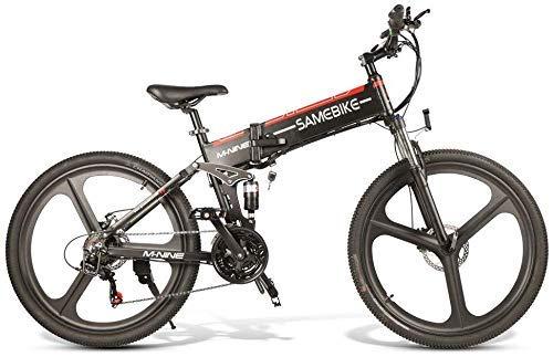 "WJSW Sam 26\""Elektrofaltfahrrad E-Bike Aluminiumlegierung 10.4AH 350W Stadtfahrrad, 4-Bar-Vollfedersystem, 21-Gang, 35KM / H, 499WH, max. 80KM Distanz-Schwarz"