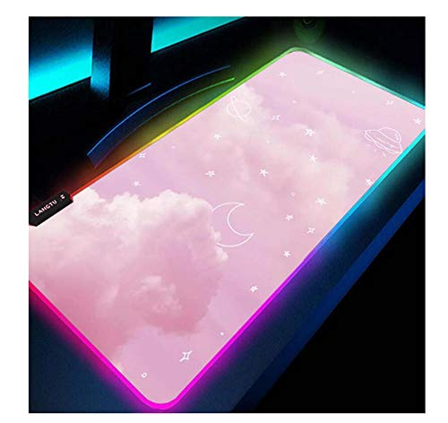 Gaming Mouse Pads Clouds Moon Patterns RGB Gaming Mouse Pad Pink,Large Size Cute LED Mouse Mat USB Ports Glowing Computer Keyboard Desk Mat Durable Stitched Edges Smooth Surface 27.5X11.8Inch