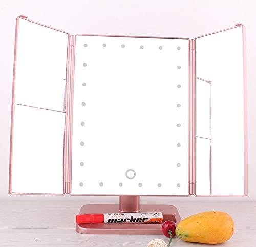 WOCTP Beleuchteter Kosmetikspiegel Mit Natürlichen LED-Lichtern Vergrößerungen Dimmbarer Touchscreen Beleuchteter Dreifach Gefalteter Schminkspiegel Im Hollywood-Stil,Pink