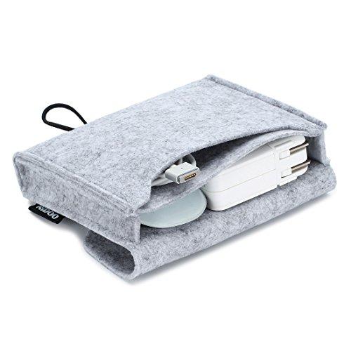 Nidoo Filz Lagerung Beutel Tasche Fall Hülle für Zubehör ( Maus, Handy, Kabel, SSD, HDD Gehäuse, Power Bank & mehr ) - 6.3 Zoll, grau