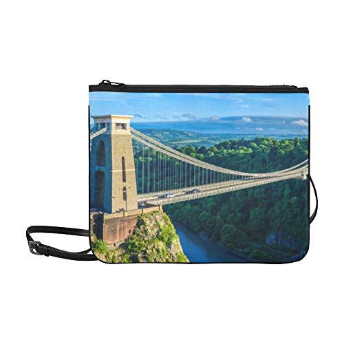 Clifton-Hängebrücke Panoramablickmuster Benutzerdefinierte hochwertige Nylon-dünne Clutch-Tasche Umhängetasche mit Umhängetasche
