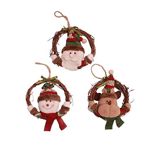 Wohlstand 3 Pcs Adornos Colgantes de Árbol de Navidad Accesorios Decorativos Redondos con Santa,Renos y Muñecos...