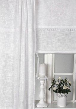 Französisch Skandinavisch Interieur Gardinenschal Vorhang 'Emmy' 2er Set 120 x 240 cm (BxH) Bestickt mit Spitze und Monogramm weiß Baumwolle Landhaus Shabby Nostalgie