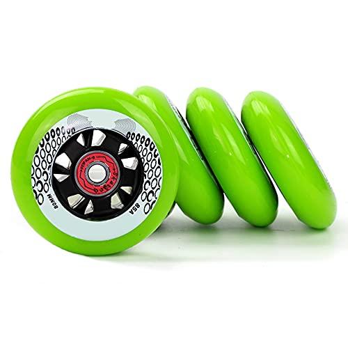 SSCYHT Ruedas de Repuesto para Patines en Línea con Rodamientos 608 72mm 76mm 80mm Ruedas de PU 85A para Patines en Línea para Adolescentes y Adultos Paquete de 4,Verde,72mm