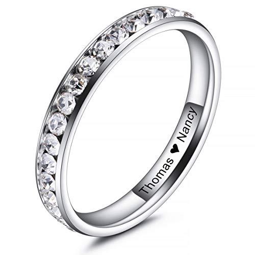 INBLUE Personalisierte Versprechen Ringe Gravur Name Datum Benutzerdefinierte Ringe für Frauen Mädchen Beste Freundin Muttertag Edelstahl Ewigkeit Ehering Ring Schmuck für Sie (Weiß Farbe)