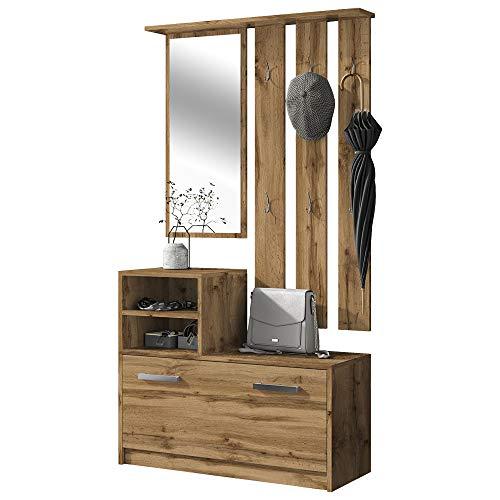 Selsey YESFIR – Garderobenset mit Schuhschrank und Spiegel, Wotan Eiche Matt, 85 cm