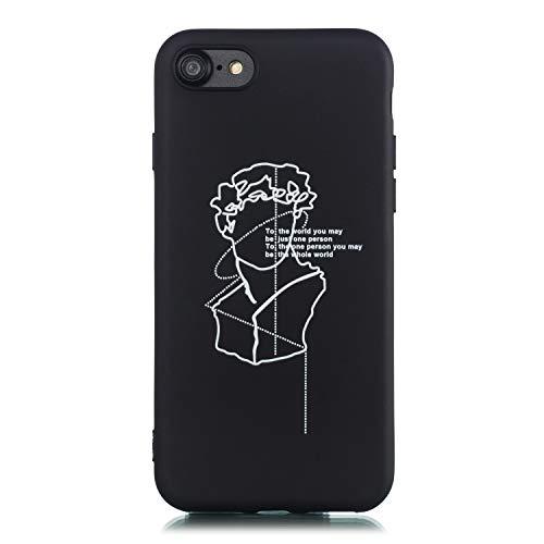 LeviDo Cover Compatibile per iPhone 7/iPhone 8 Silicone Morbida Nero Gomma Bumper Case Caso Paraurti TPU Gel Protettiva Antiurto, Arte