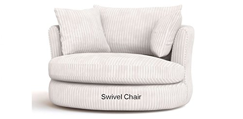 SOFASANDMORE Large Swivel Round Cuddle Chair Fabric Chenille Leather Designer Scatter Cushions (Cream)