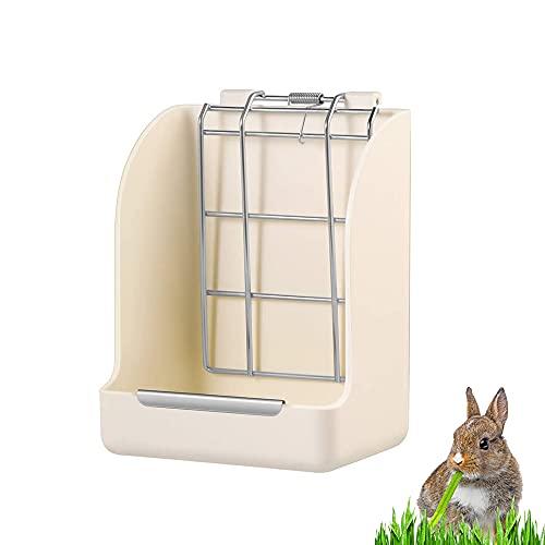 Heuraufe für Kaninchen, MOPOIN Weniger Vergeudetes Heuspender Hält Sauber Tragbare Futterautomat Ungiftig Heu Feeder Haustiernapf Futterkrippe für Meerschweinchen Chinchilla Kleintiere, Weiß