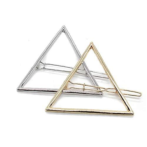 Clip 10PCS minimalista geométrico del triángulo del pelo Metal hueco horquilla Abrazaderas Accesorios Barrettes horquilla Cola de caballo Declaración Holder (oro y plata) Útiles Productos de belleza