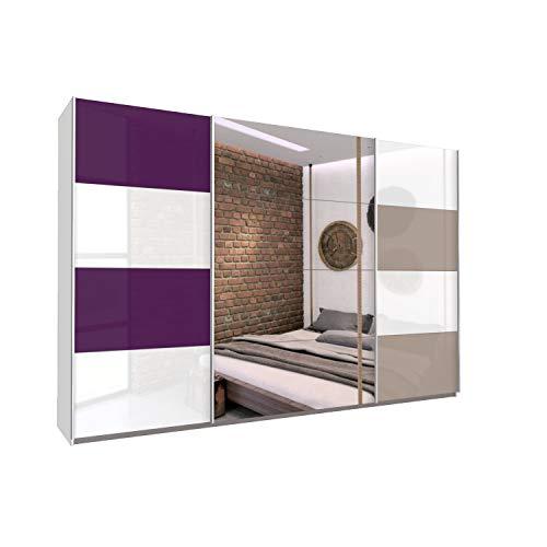 Bloomwood KUMOX Kleiderschrank, moderner Schwebetürenschrank 315 cm breit, 210 cm hoch 3-türig mit Einlegeböden und Kleiderstangen, Made in Germany, Alpinweiß mit bunter Glasfront