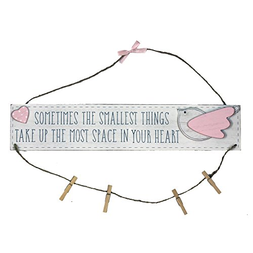 Petit Cheri Little Things Pink Hanging Plaque With Pegs Lovely New Baby Gift