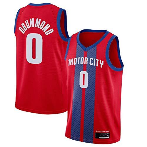 Wo nice Uniformes De Baloncesto para Hombre, Detroit Pistons # 0 Andre Drummond NBA Basketball Jerseys Casual Sports Chalecos Sueltos Camisetas Tops,Rojo,XXL(185~190CM)