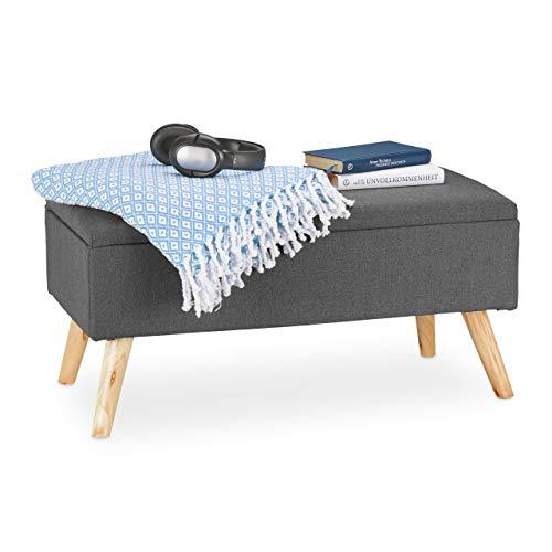 Relaxdays Sitzbank mit Stauraum, gepolstert, Holzbeine, Truhenbank Stoffbezug, H x B x T: 39,5 x 79,5 x 39,5 cm, grau