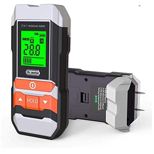 Misuratore di umidità del legno, Dr.meter 2 in 1 Pin multifunzionale Legna da ardere/Muro/Edificio Rivelatore di umidità dell'umidità per mobili, Tipo di pin e scanner Tester