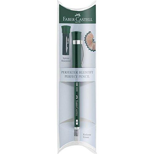 Faber-Castell 119037 - Perfekter Bleistift Castell 9000, Härtegrad B, Schaftfarbe: grün