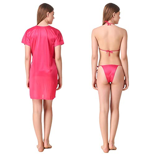 Romaisa Women's Satin Short Robe with Bra and Thong Set of 3 pcs (Free Size) (Alice Pink Color)