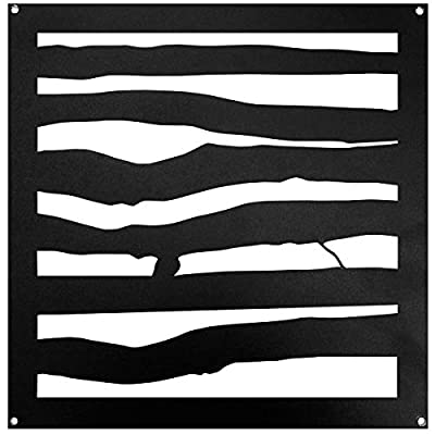 """Nuvo Iron 11"""" Branch Style Insert Powder Coated Black for Wood Composite & Vinyl Fencing, Gates, Dual Sided (2pcs) - ACW75"""