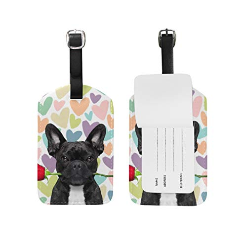 Moyyo Cute Funny French Bulldog Rose Love Luggage Tag Suitcase Tags Leather Travel Baggage Luggage Identify ID Tags Labels for Suitcases Luggage Tags with Privacy Cover