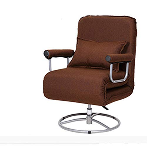 WANGZRY Computer Gaming Chair Swivel Multifunctional Office Chair Folding Chair Living Room Recliner Chair Simple Folding Sofa Bed Lift,Brown