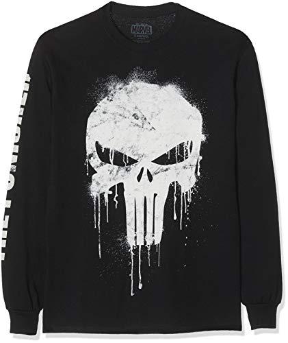 Marvel Avengers Punisher Skull Camisa Manga Larga, Negro (Black Blk), Medium (Talla del Fabricante: Medium) para Hombre