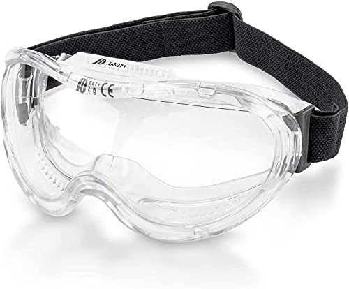 NEIKO 53875B Anti-Fog Safety Goggles   Wide-Vision Protection   Anti-Scratch Coating   Discreet Air Vents   Universal Fit   Science Lab, Hospital, Construction   ANSI Z87.1 Approved