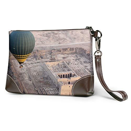 Echt lederen portemonnee voor vrouwen rits rond polsband lange portemonnee vintage embossing rundleer capaciteit handgemaakte koppeling ruïnes Egypte ballon hemel landschap