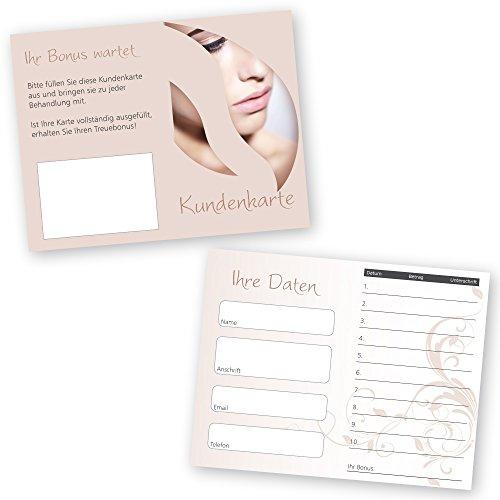 50 Kosmetikstudio - Kundenkarten NUDE mit 10 Feldern und Bonusfeld