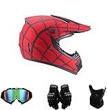 Amacigana Casco de motocross, Spider-Man, para todo el país, casco de moto con...