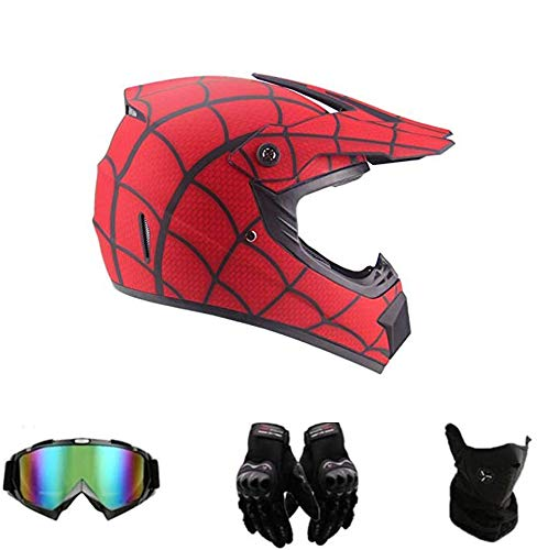 Amacigana® Casco de motocross, Spider-Man, para todo el país, casco de moto con protección de guantes, para adolescentes y niños, casco transpirable (S)